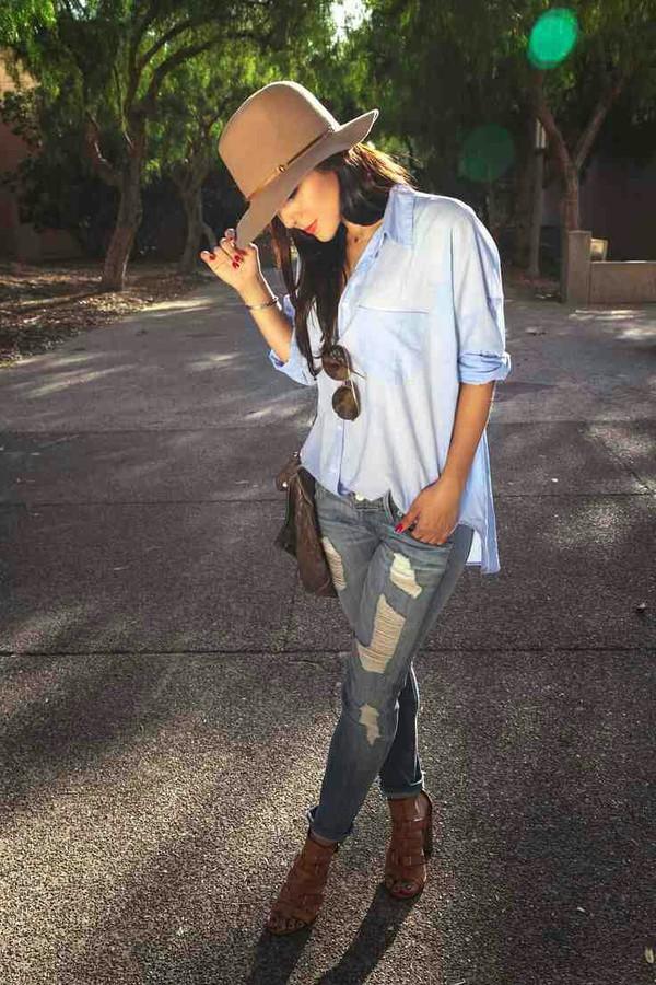 jeans blouse shoes hat