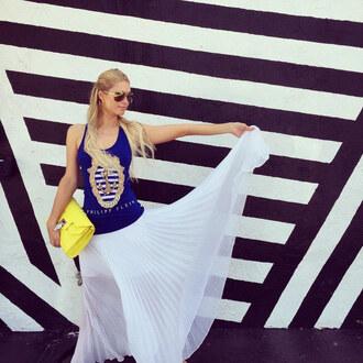 skirt maxi skirt white skirt paris hilton summer outfits tank top top instagram clutch bag