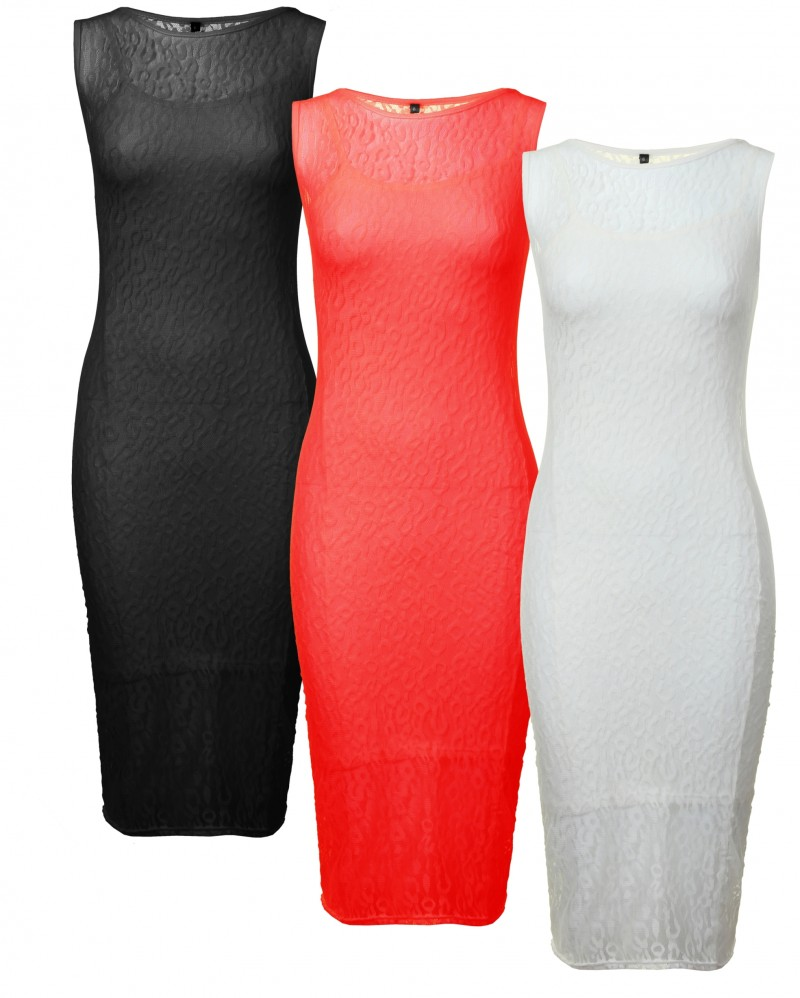 Womens Ladies Lace Bodycon Sleeveless Long Ladies Womens MIDI Dress | eBay
