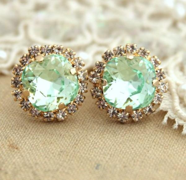 jewels earrings diamonds mint sea foam green jewelry