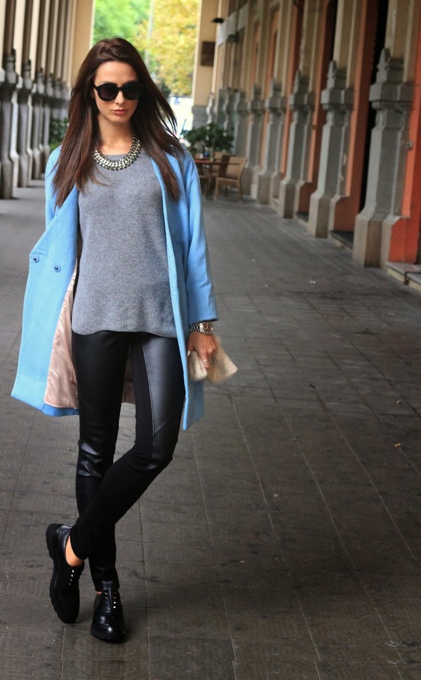 marie zamboli coat sweater pants jewels shoes sunglasses