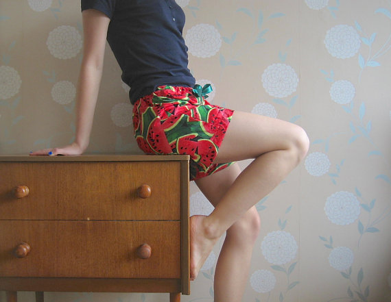 Pyjama bottom shorts in watermelon print by BeckyQueenOfFrocks