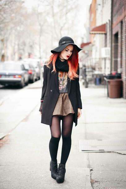 le happy blogger winter outfits tiger print floppy hat blazer mini skirt