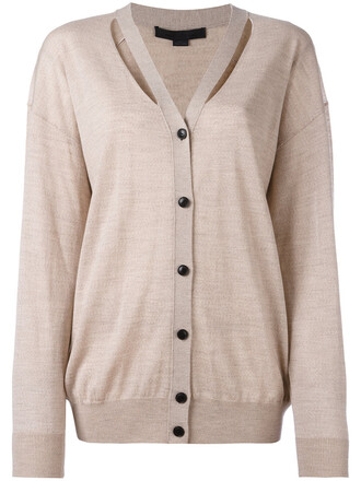 cardigan knitted cardigan cut-out women nude wool sweater