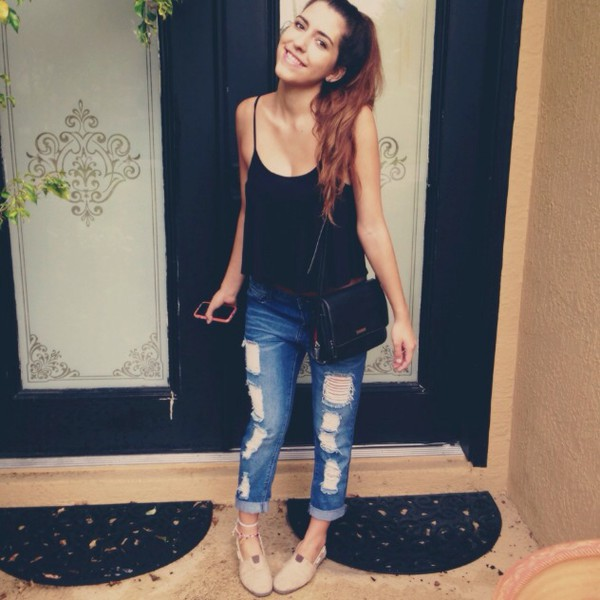 jeans tank top black shoes bag denim t-shirt