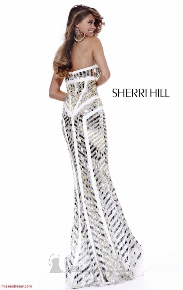 dress white dress sherri hill prom dress