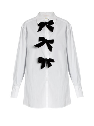 shirt bow cotton white black top