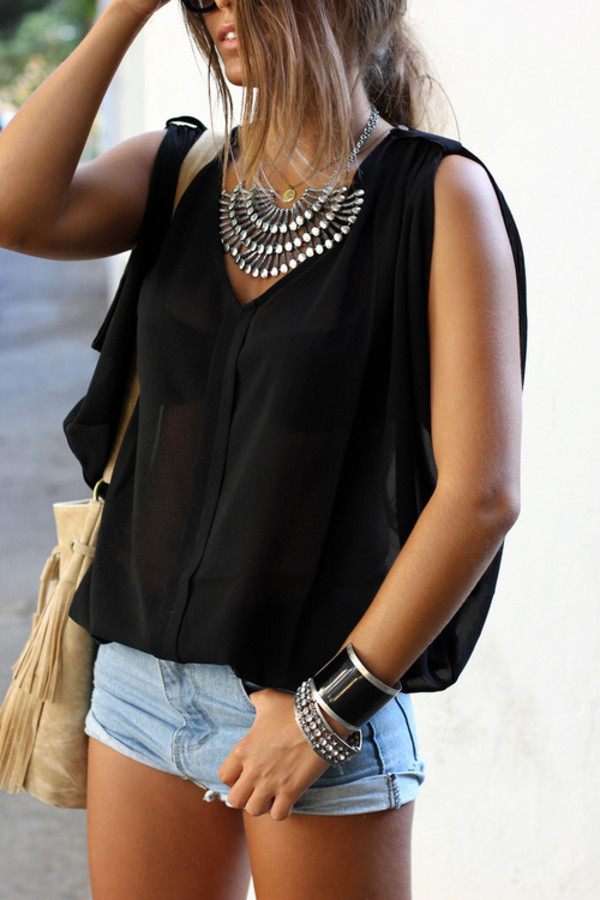 shirt blouse jewels celebrity shorts