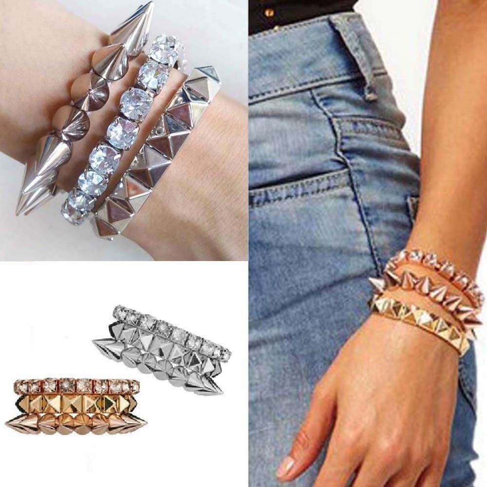 New Womens Studs Spike Rivet Bling Crystal Elastic Stretch Bracelet Silver/Gold | eBay