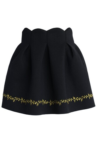 skirt chicwish leaves embroidered skirt black tulip airy skirt fashion and cute