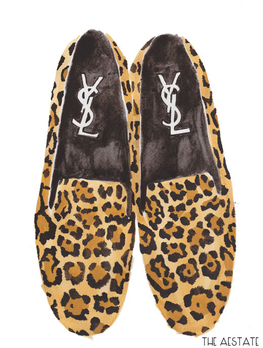 YSL Leopard Loafers Watercolor Print 11 x 14 by THEAESTATE on Etsy