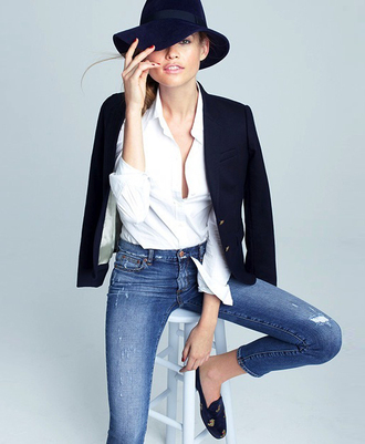 le fashion blogger hat skinny jeans casual white shirt blazer loafers jacket shoes shirt jeans smoking slippers french girl style