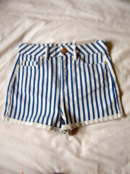 Blue And White Striped Shorts - The Else