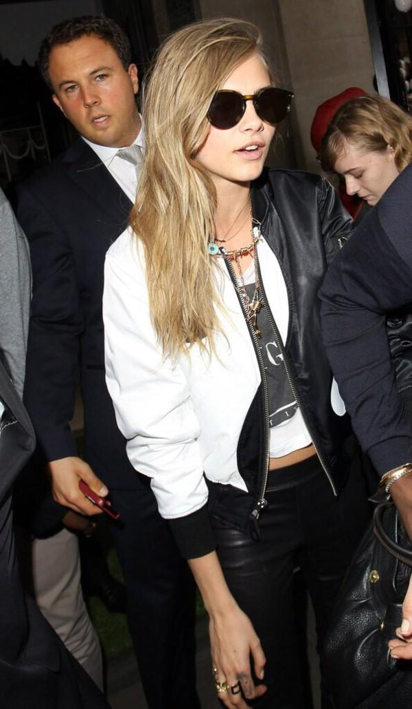 jacket cara delevingne sunglasses pants
