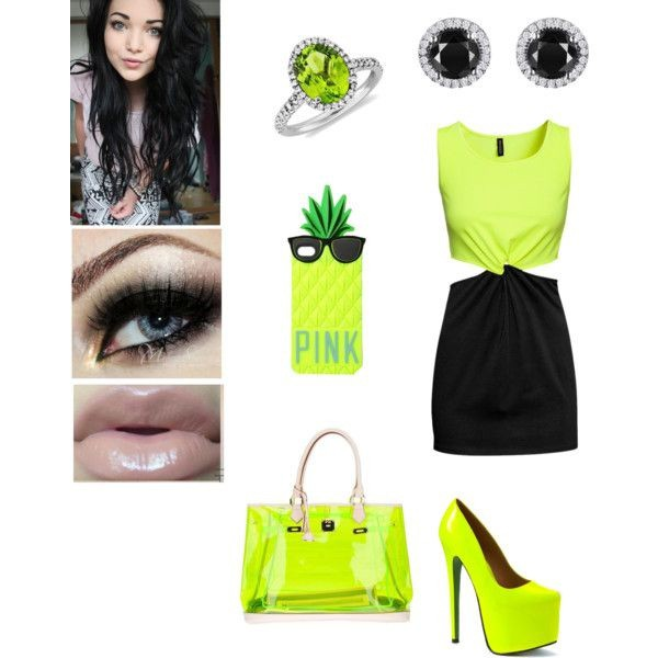 bag neon green green shirt black skirt black earrings rings and tings pineapple phone cover skirt jewels shoes shirt shorts dress