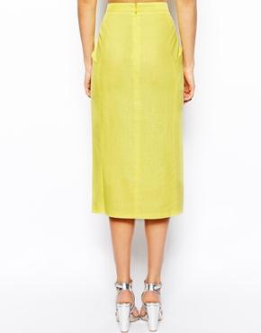 ASOS | ASOS Linen Split Front Pencil Skirt at ASOS