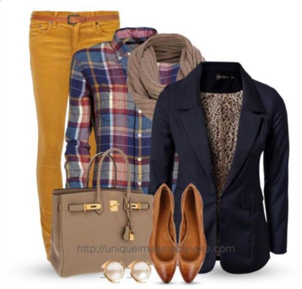 jeans plaid shirt yellow jeans blazer purse scarf bag