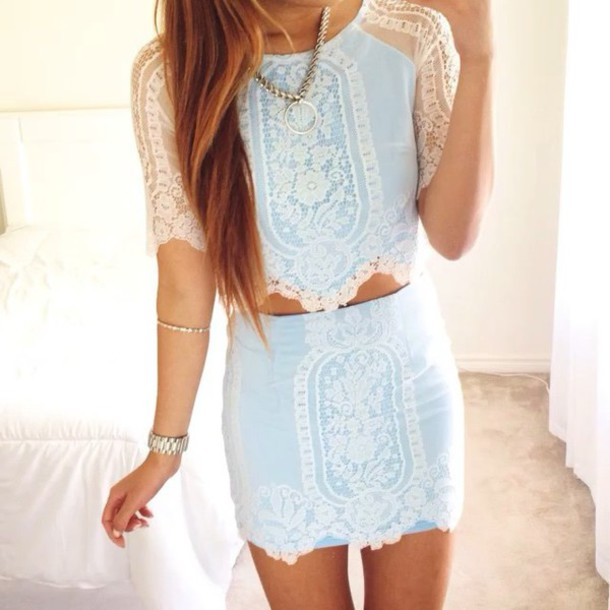 dress blue dress lace dress two-piece