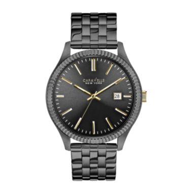 Caravelle New York® Mens Date Gunmetal Bracelet Watch - JCPenney