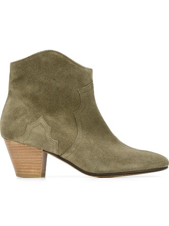 women boots ankle boots leather suede green shoes
