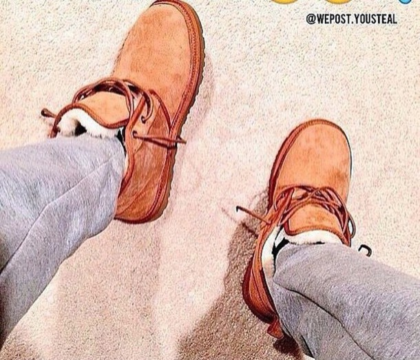 shoes menswear ugg boots furry boots tan color