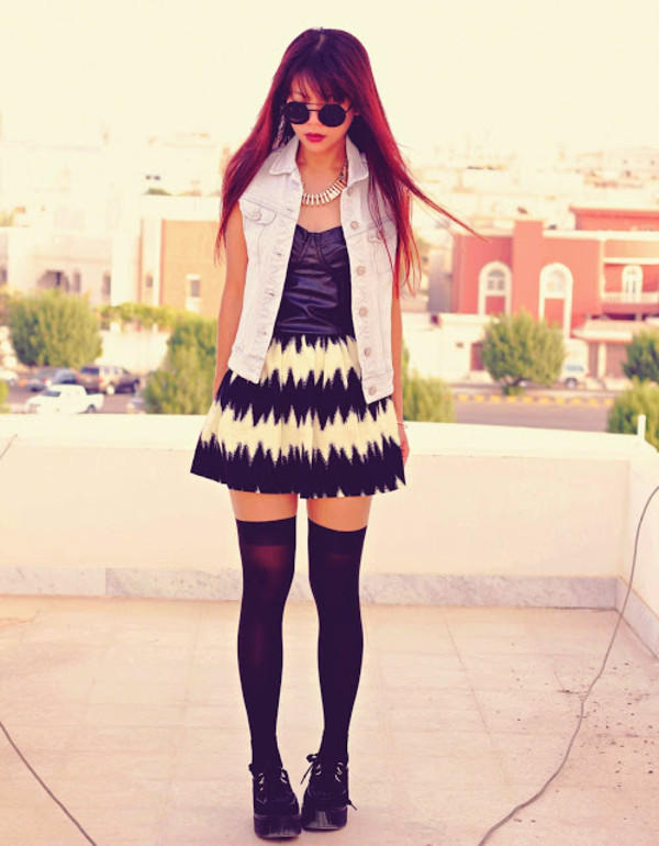 born to bother you jacket jewels skirt tights