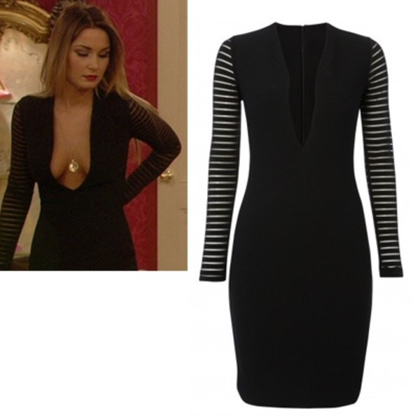 dress black dress sheer stripes sheer sleeves long sleeves plunge neckline the only way is essex