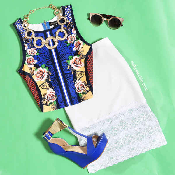top mirror print top crop tops midi skirt wedge heels chunky necklace chunky 90s necklace