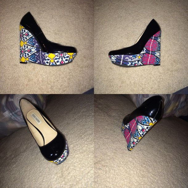 shoes steve madden wedges colorful heels colrfull summer shoes