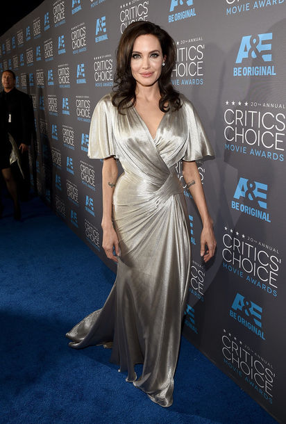 dress critics' choice movie awards angelina jolie silver versace