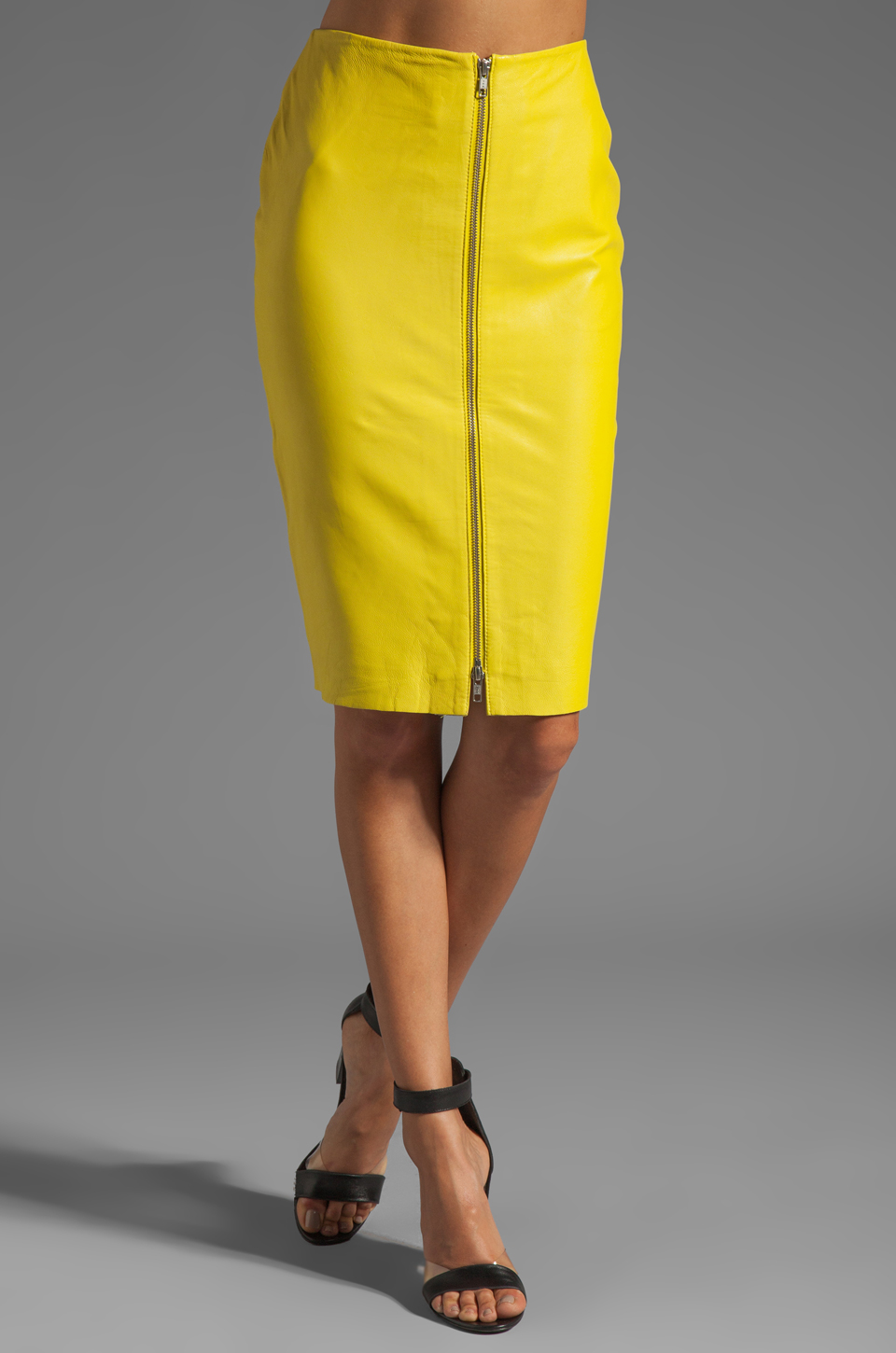 By Malene Birger Luxurious Leather Pencil Skirt in Neon Yellow | REVOLVE