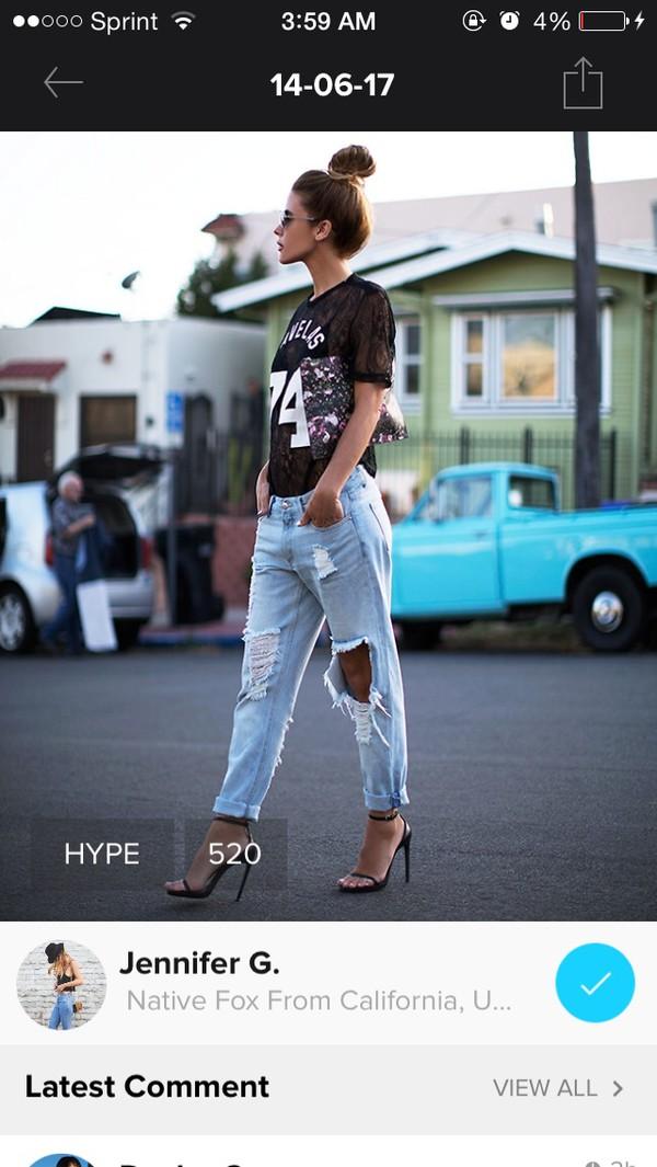 jeans boyfriend jeans shredded ripped jeans shirt