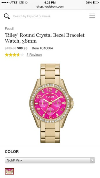 jewels pink gold fossil watch