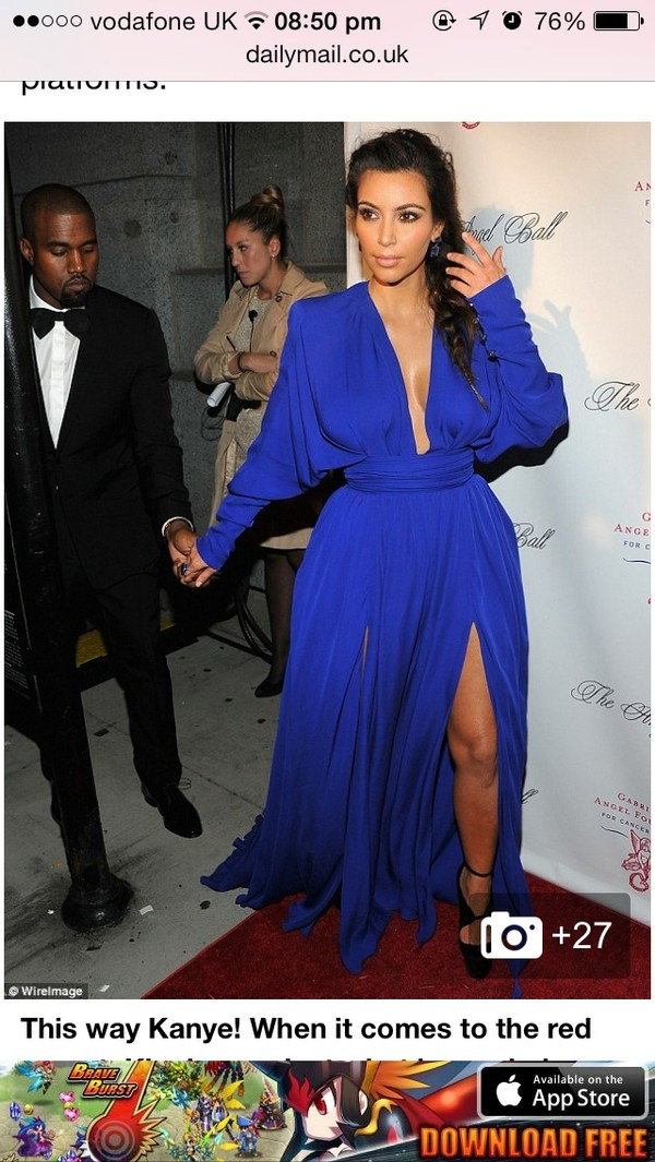 dress cobalt blue plunge v neck plunge neckline kim kardashian ball gown dress