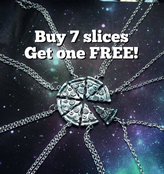 Pizza Necklace BUY 7 SLICES get 1 FREE by lotusfairy on Etsy