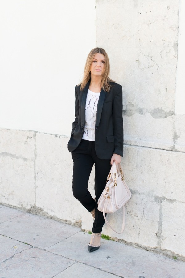 the working girl t-shirt pants jacket shoes bag jewels