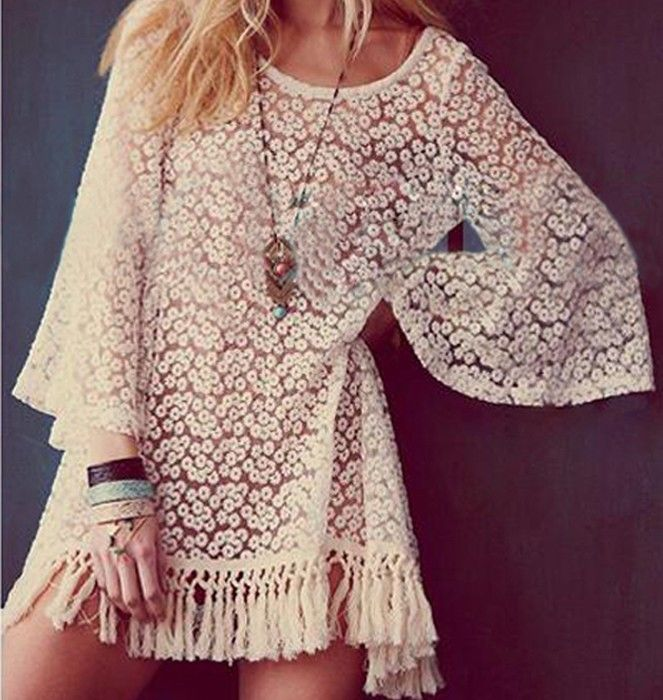Vintage Hippie Boho Bell Sleeves Gypsy Festival Fringe Sexy Lace Mini Dress Tops | eBay