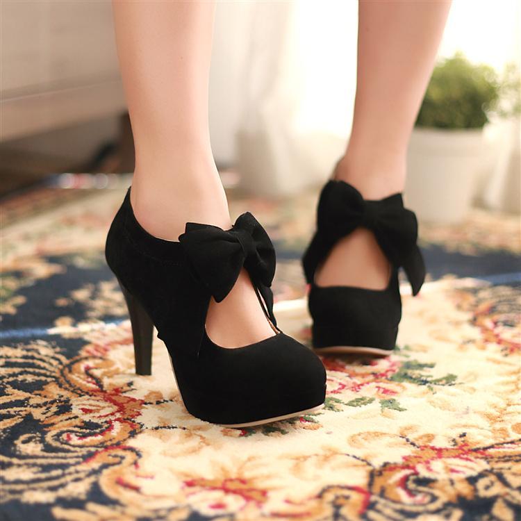 Scrub women's shoes sweet bow platform thin heels back zipper high heeled shoes shallow mouth women's pumps for girls free ship on Aliexpress.com