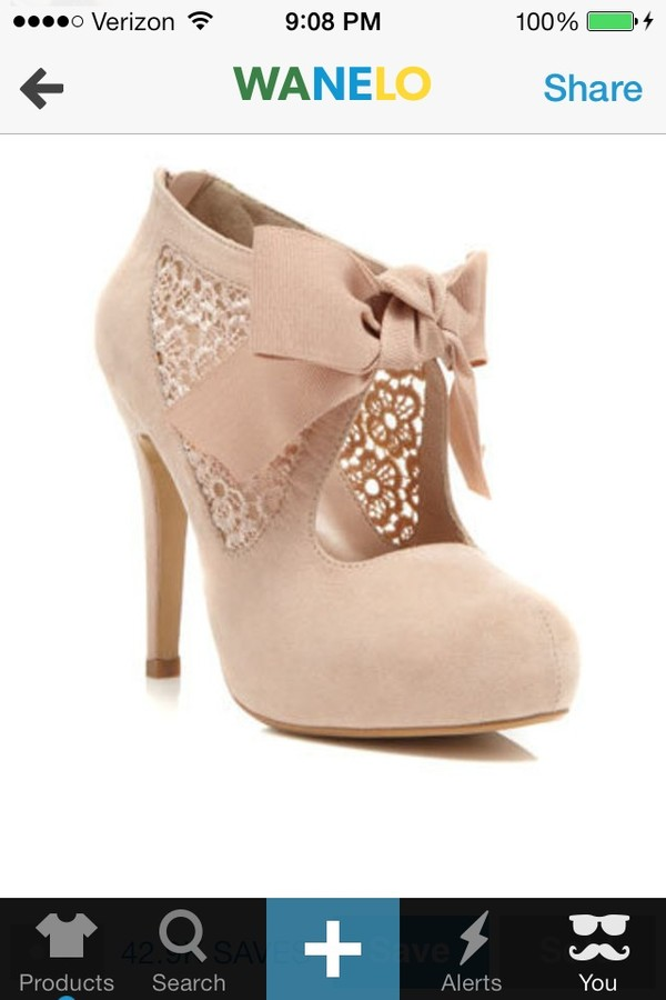 shoes beige shoes high heels booties pink heels with a bow lacey sides nude trendy cute heels