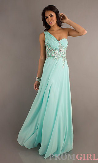 2014 Tiffany Long Prom Dresses, One Shoulder Prom Gowns- PromGirl