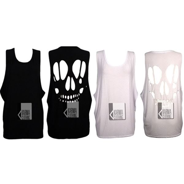 LADIES SPOOKY SKULL BACK CUT OUT LOOSE FIT VEST WOMENS LONG DRESS TOP 8 10 12 14 | eBay