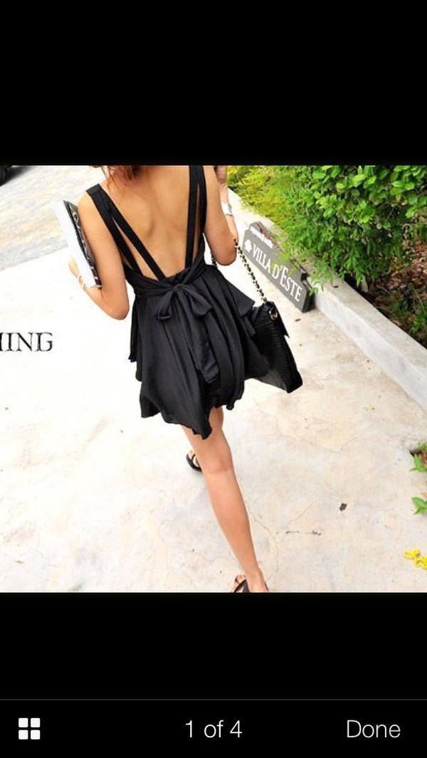 dress black low back skater dress black bow low back dress