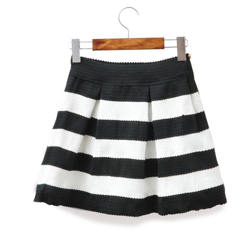 High Waist Black & White Striped Scalloped Hem Skater Skirt