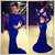 2014 Sexy robe de soiree Evening Dress High Neck Long Sleeve Criss Cross Backless Royal Blue Mermaid Prom Dresses-in Evening Dresses from Apparel & Accessories on Aliexpress.com