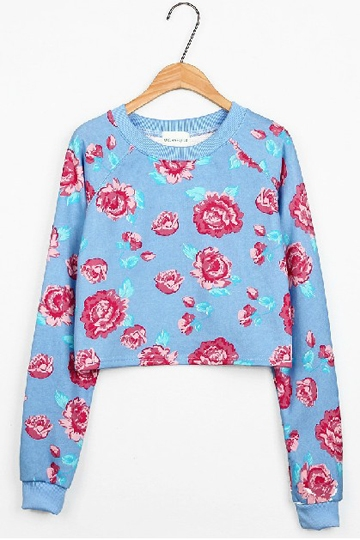 Fancy Flower Print Long-sleeved Pullover [FOBK0092]- US$24.99 - PersunMall.com
