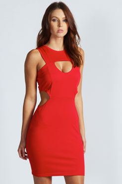 Tori Cut Out Side Detail Bodycon Dress at boohoo.com