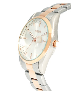 Oasis   Oasis Two Tone Vintage Style Link Watch at ASOS