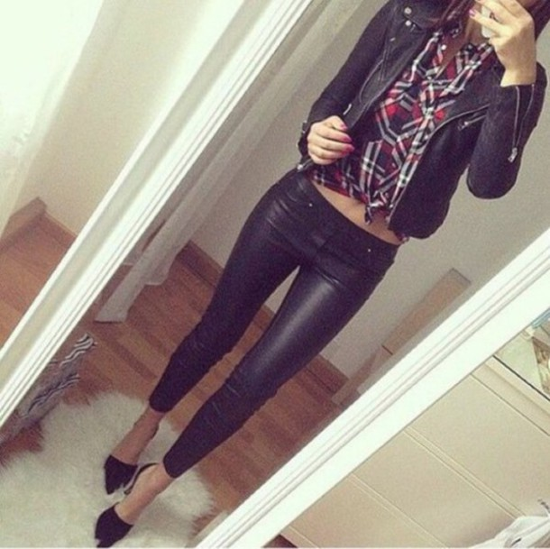jeans shiny black material skinny