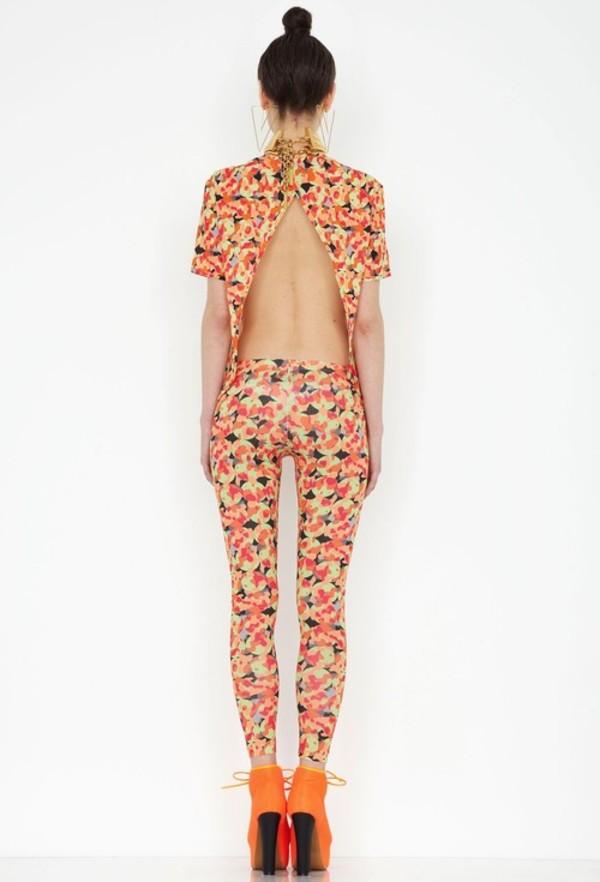 blouse pattern indie cute pants orange hippie hipster