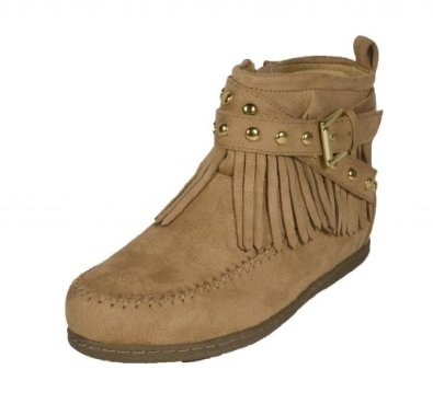 Amazon.com: Dahlia! By Soda Tribal Inspired Moccasin High Top with Side Zipper and Double Studded Criss Cross Straps in Camel Faux Suede: Shoes